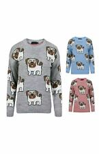 LADIES MULTI PIG FACE PRINT JUMPER WOMEN LONG SLEEVE KNITTED SWEATER JUMPERSTOP