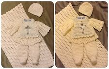 Handmade Crochet Knit Baby Boy Christening Outfit Layette Set Coming Home Outfit