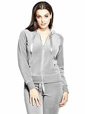 Guess Hoodie Womens Track Jacket Sweater Stretch Velour S or M Grey NWT