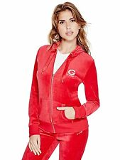Guess Hoodie Womens Track Jacket Sweatshirt Jumper Stretch Velour S or M Red NWT