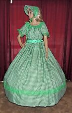 CIVIL WAR HALLOWEEN DICKENS PIONEER Green Check Costume Dress Gown W/Bonnet/Hat