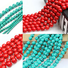 Howlite Red Black line Turquoise Round Spacer Gemstone Beads  4/6/8/10/12mm