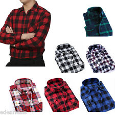 Men's Casual Plaid Shirt Brushed Cotton Male Long Sleeve Shirt Blouse Tops
