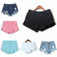 Women High Waisted Washed Ripped Hole Short Mini Jeans Denim Pants Shorts S - XL
