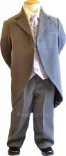 Boys Suits 5pc Grey Tails Suit Colour Combos Wedding Pageboy Usher formal