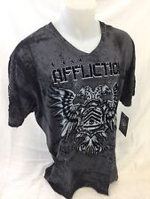 Mens NEW AFFLICTION T Shirt V NECK GRAY COAXIAL PHOENIX WING XXXL 3XL A11575 NWT
