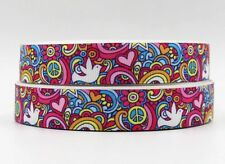 "Groovy Pink Peace Sign Symbol White Dove 7/8"" Printed Grosgrain Hairbow Ribbon"