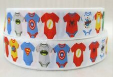 """Super Baby One Piece Jumpers White 7/8"""" Printed Grosgrain Hairbow Ribbon"""
