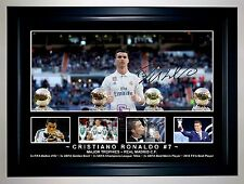 CRISTIANO RONALDO REAL MADRID MAJOR TROPHIES PHOTO COLLAGE SIGNED PRINT/FRAMED