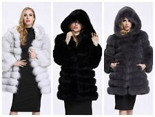 Women Hooded Long Coat Winter Warm Outwear Faux Fur Long Sleeves Jacket Coat