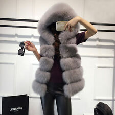 Womens Hooded Warm Gilet Outwear Faux Fur Vest Waistcoat Jacket Coat Winter