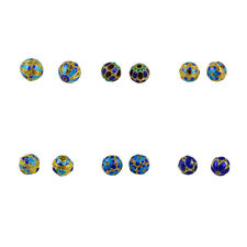 6pcs Colored Enamel Filigree Gold Plated Cloisonne Loose Beads DIY Jewelry