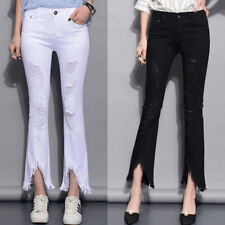 Womens Vintage Medium Waist Skinny Slim Pants Hole Stretch Bell Wide Leg Trouser