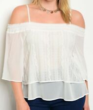 Cold Shoulder Crochet Lace Sheer Chiffon Layered Top Plus Size Blouse | 12 14 16