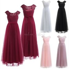 Women Lace Chiffon Long Prom Bridesmaid Cocktail Evening Party Dress Ball Gown