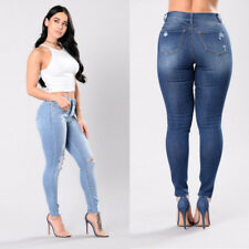 Stretch High Waisted Ripped Knee Womens Jeans  Denim Pants Skinny Fit
