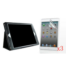 New PU Leather Stand Case Cover+3x LCD Film For Apple iPad mini4 A1538/A1550