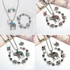 Women Jewelry Sets Tibetan Silver Elephant Turquoise Pendant Necklace Earrings