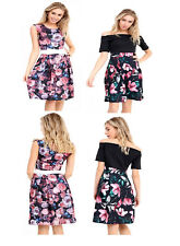 NEW WOMEN  LADIES BOW DETAIL CONTRAST PANEL SKATER DRESS