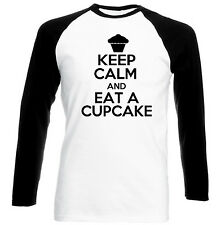 KEEP CALM AND EAT A CUPCAKE 2 - NEW BLACK SLEEVED BASEBALL COTTON TSHIRT