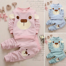 Toddler Baby Boys Girls Kids Cotton Shirt Tops+ Pants Clothes Outfits Sets 2pcs