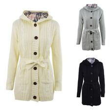 Women Knitted Hooded Cardigan Single-breasted Autumn Sweater Coat Jacket Outwear