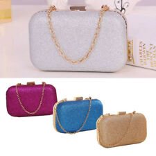 Fashion Women Solid Clutch Box Evening Party Glitter Chain Hand Bags Wallet