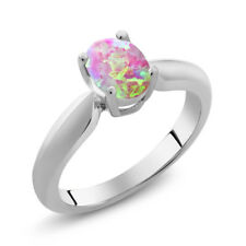 0.63 Ct Oval Cabochon Pink Simulated Opal 925 Sterling Silver Ring