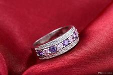Sapphire & Amethyst & Cz Engagement Cocktail Ring Band in 925 Silver Size 6-7-8
