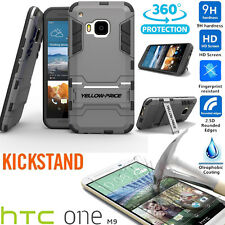 Stand Case For HTC ONE M9 & Micro USB Charger Cable Car Charger/Real Glass Film