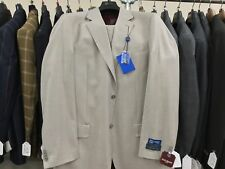 Tan Mens Suit 42L 36W Henry Uomo Two Button Flat Front Pants