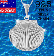 925 Sterling Silver Chain Photo Seashell Locket Mermaid Pendant Necklace Shell