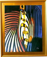 """Zoe-""""Abstract Zebra""""-Framed Hand-Painted ORIG Oil Painting/Canvas/Hand Signed"""