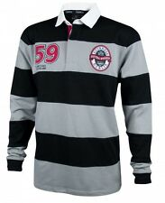 Guinness Grey & Black Striped Rugby Jersey Mens Irish Ireland Embroidered New