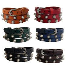 Fashion Punk Rivet Spike PU Leather Bangle Vintage Bracelet Buckle Wristband