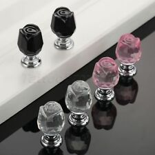 Luxurious Crystal Rose Cupboard Drawer Pull Handles Furniture Door Cabinet Knobs