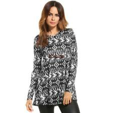 Women Casual V-Neck Long Sleeve Print Loose Fit Blouse Tunic Tops ES88