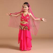 5/set Kids Belly Dance Costume Coin Halter Top Hip Scarf Bollywood Dress S/M/L