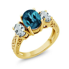 2.66 Ct London Blue Topaz Sky Blue Aquamarine 18K Yellow Gold Plated Silver Ring