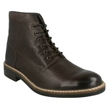 MENS CLARKS BROWN LEATHER LACE UP SMART CASUAL ANKLE BOOTS SHOES BLACKFORD HI