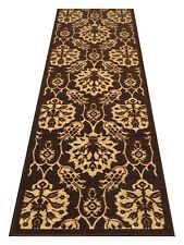 2' x 6' Rubber Backed Non-Slip Brown - Ivory Color Floral Design Runner Rugs