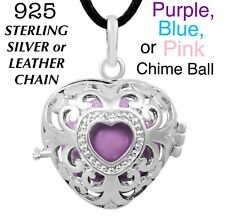 Pregnancy Harmony Angel Caller Chime Ball Silver Heart Locket Pendant Necklace