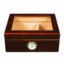 Desktop Humidor with mahogany finish Glass top holds 25 to 50 cigars Brown