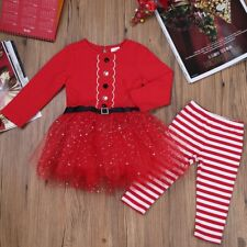 Infant Baby Girl Christmas Outfit Santa Claus Top Tutu Dress Strip Party Costume