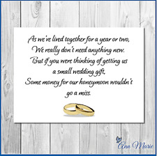 10 PERSONALISED WEDDING MONEY POEM / GIFT POEM CARDS / HONEYMOON WISH POEM CARD