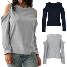 Autumn Women's Cutout Cold Shoulder Blouse Long Sleeve Jersey Casual Tunic Top