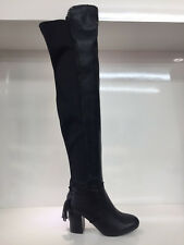 LADIES WOMENS BLACK OVER KNEE HIGH LEATHER FAUX HIGH HEEL BOOTS SHOES SIZE 4