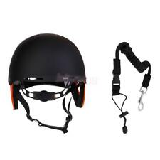 Safety Water Sports Rescue Helmet Hard Hat + Paddle Leash f/ Kayak Canoe Boating