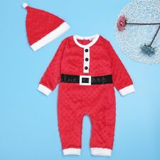 Newborn Baby Girl Boys Long Sleeve Christmas Santa Claus Romper Outfit Costume