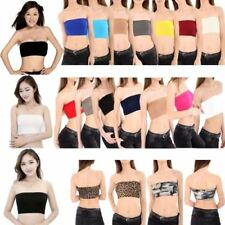 New Womens Plain Printed Boob Tube Strapless Bandeau Stretch Vest Bra Crop Top